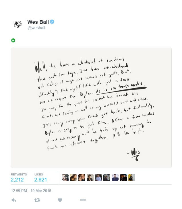 Wes Ball Tweet after Dylan O'Brien Hospitalized