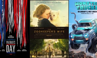 TRAILERS: The Zookeeper's Wife, Patriots Day + Monster Trucks