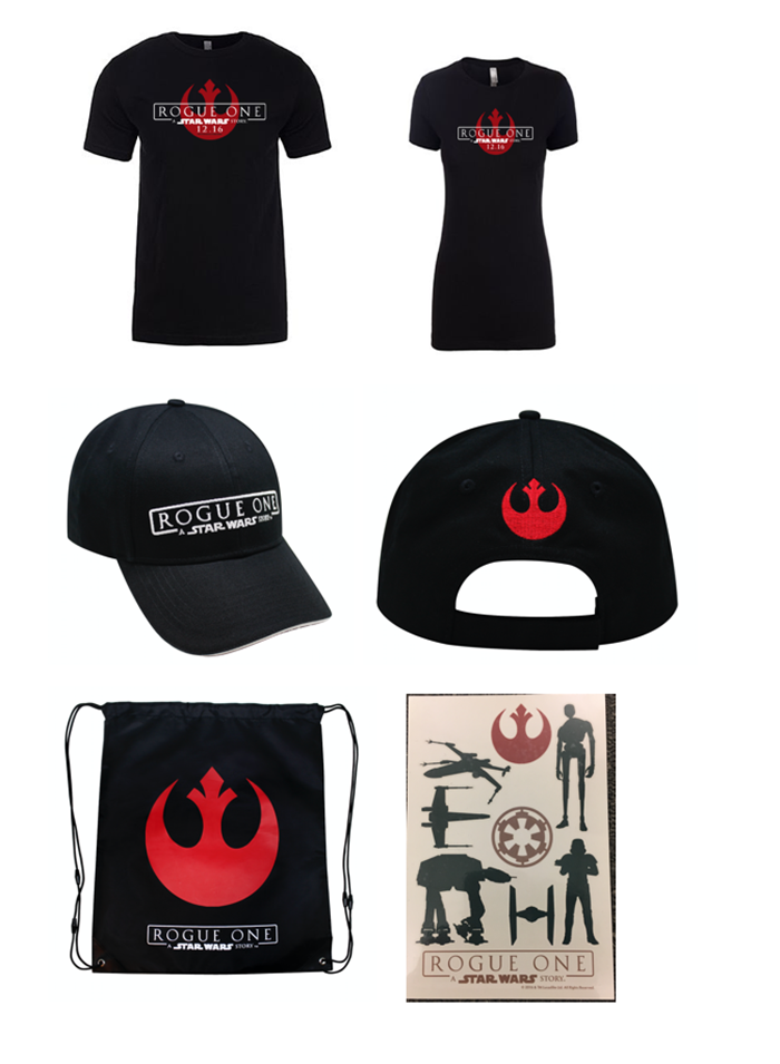 Includes 1 rogue one t shirt 1 baseball cap 1 backpack and 1 poster