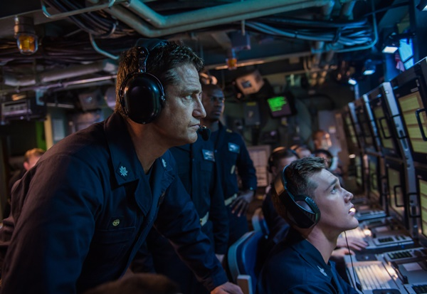 Butler, Common, Oldman in Hunter Killer Trailer