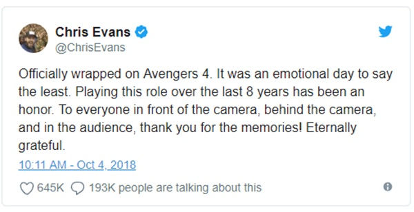 Chris Evans Wraps Avengers 4 Reshoots; Bids Goodbye to MCU