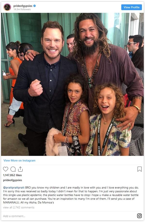 Jason Momoa Apologizes to Chris Pratt Over Plastic Water Bottle